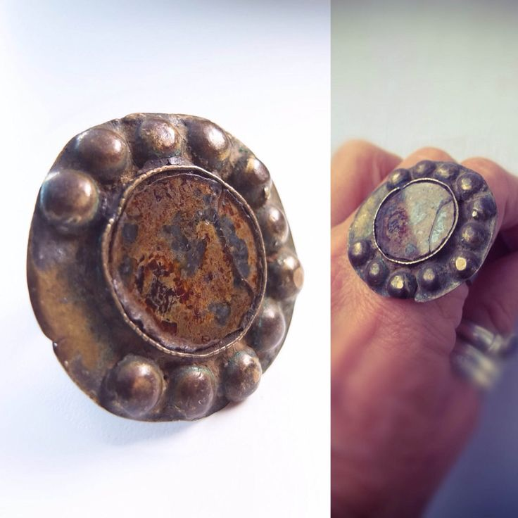 Old Mirror Ring, Antique Thumb Ring, Huge Ring, from Rajasthan, India Jewelry, Gypsy   Ornament, Nomad Jewelry, Bohemian Fashion, Copper