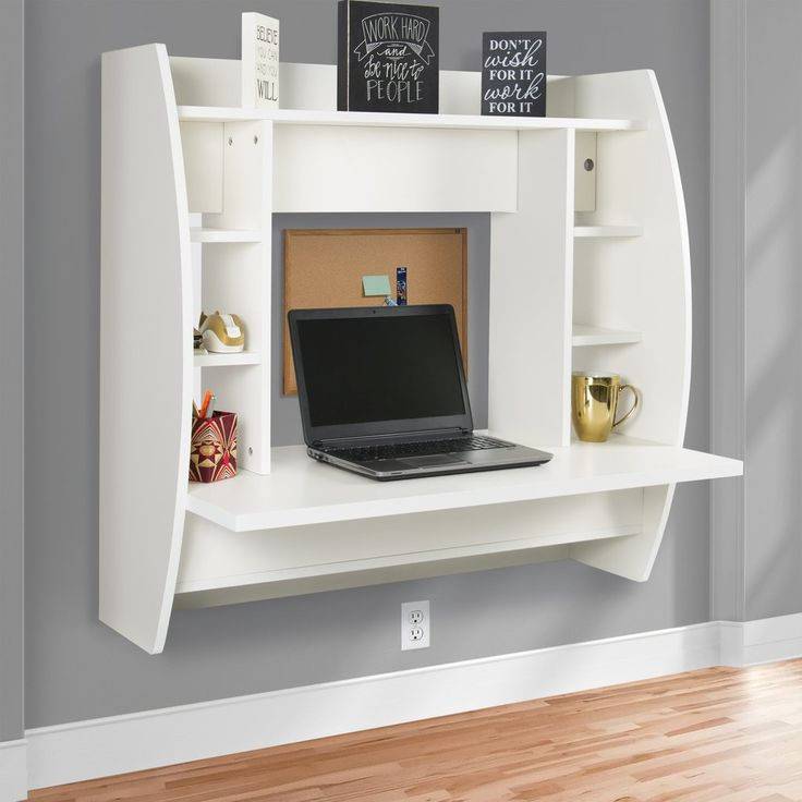 Best Choice Products Wall Mount Floating Computer Desk With Storage Shelves  Home Work Station   White