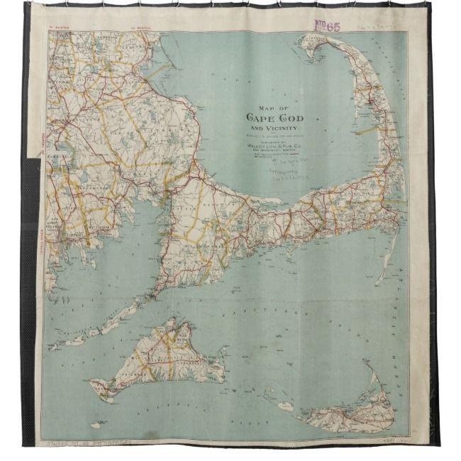 Vintage Map Of Cape Cod 1917 Shower Curtain Zazzle Com Cape