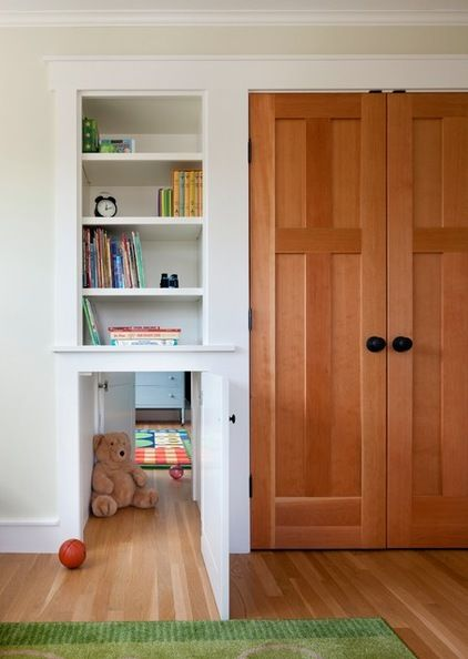 For adjoining kids' rooms - convert lower cupboards for shared play space. Either use a door or curtain and voila - the children are entertained for hours. Platt Builders..