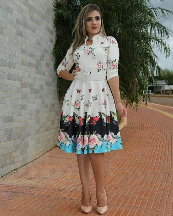 20a906521d Vestido Midi branco barrado manga 3 4 - Moda Evangélica - Flor de Amêndoa
