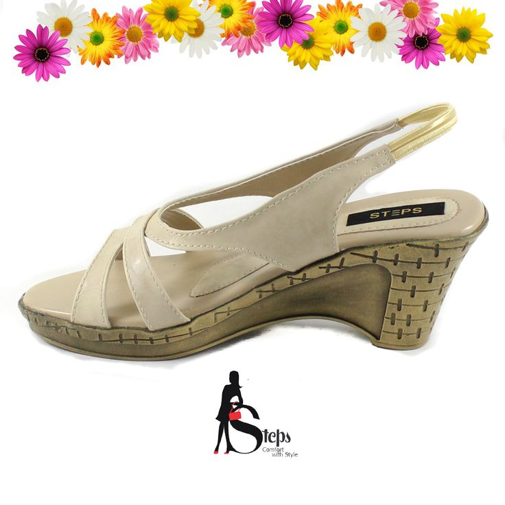 Elastic strap Beige Heeled sandals at Steps #Women's Shoes #Booties #Boots #Flats #Heels #MulesClogs #Rain_Winter #Boots #Sandals #Slippers #Sneakers #Jabalpur·