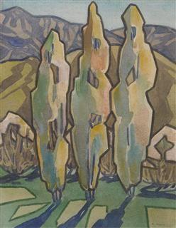 Poplar Trees / Rita Angus / 1929-30 / watercolor