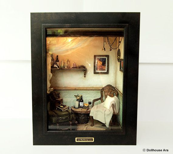The Room with Old TRUNK (No.1)- Vintage Antique chair -handmade Dollhouse Miniatures