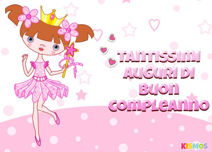 Biglietto di auguri di Buon compleanno principessa per stampare o per scaricare. Kismos inviti e biglietti di compleanno gratis.