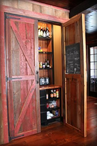 Sweet red rustic cabin pantry