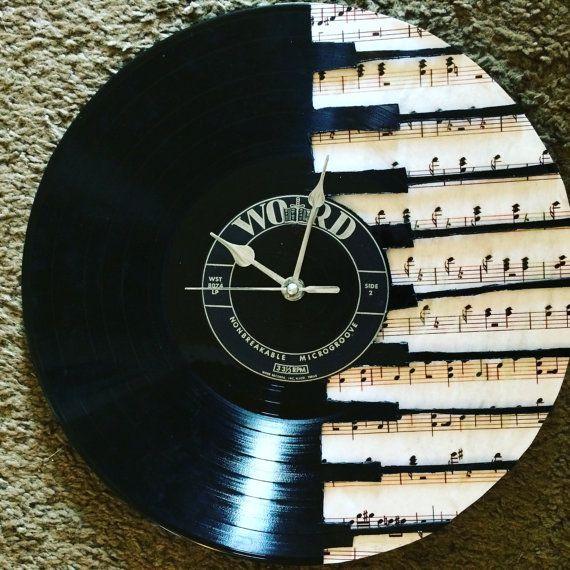 Vinyl Record Piano Clock with Sheet Music by NicoleVinylNovelties