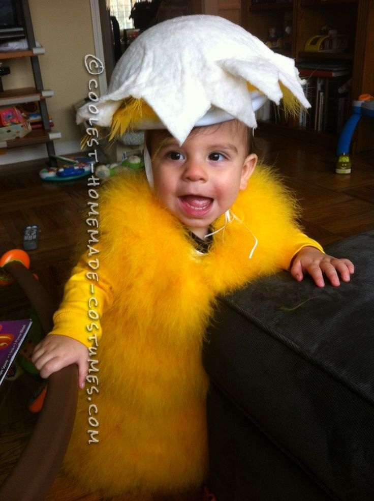 fluffy homemade baby chick costume for infant