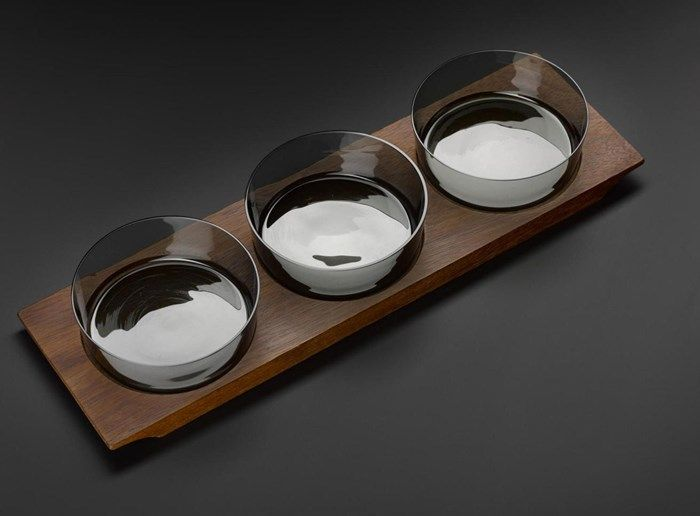 Set of wooden dish and three glass bowls, designed by Saara Hopea for Nuutajärvi Notsjo, Finland. #Design #Glass #Ceramics #Nordic #Modernist
