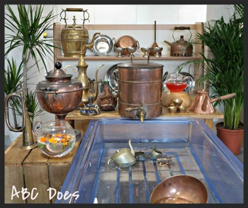 metal and tin from Ebay and car boot sales make for an interesting water area #abcdoes #eyfs #earlyyearseducation