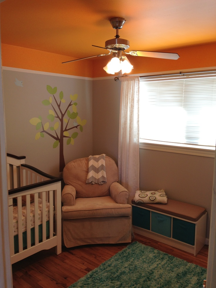 Painted Baby Room With Bright Orange Ceiling Around My