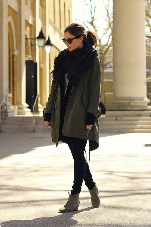 Ankle boots: Olive Oil, Ankle Boots, Winter Looks, Fall Looks, Fall Jackets, Winter Fashion, Fall Outfit, Fall Fashion, Black Pants