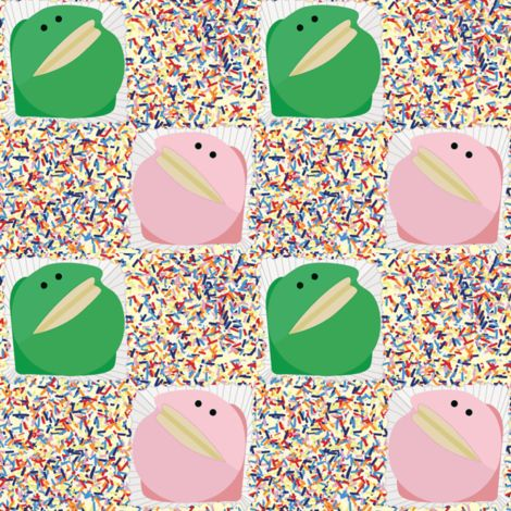 Frog cakes with hundreds and thousands sprinkles fabric by susie-lotta_designs on Spoonflower - custom fabric 100's & 1000's