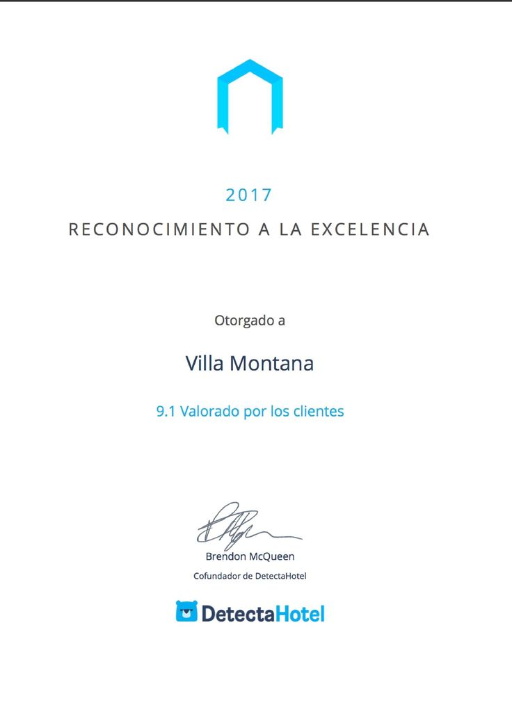 """Villa Montaña Hotel & Spa ha sido reconocido por su excelente atención al cliente y por sus altos estándares de calidad, valoración hecha por todos los que nos visitan y se van satisfechos.  """"Este galardón es un reconocimiento a su labor por conseguir los más altos estándares en satisfacción al cliente del mundo""""   Agradecemos a todos por su preferencia, este galardón es por ustedes. 🙂  #HotelVillaMontaña #RecognitionOfExcellence2017  #DetectaHotel"""