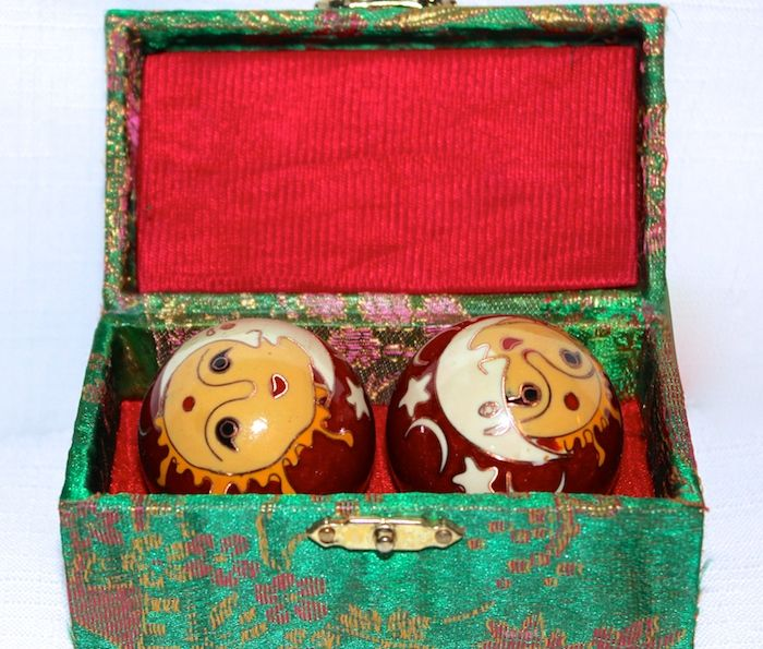 Enamelled, musical exercise balls...gift/storage box included  # O-9478