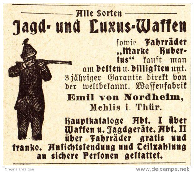 Original-Werbung/ Anzeige 1907 - WAFFEN / EMIL VON NORDHEIM / MEHLIS - Ca. 45 X 40 Mm - Werbung