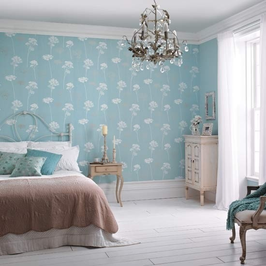 Duluxs Meadowsweet Teal Wallpaper Is The Highlight In This Slightly Shabby Chic Bedroom