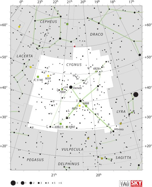 Diagram showing star positions and boundaries of the Cygnus constellation and its surroundings