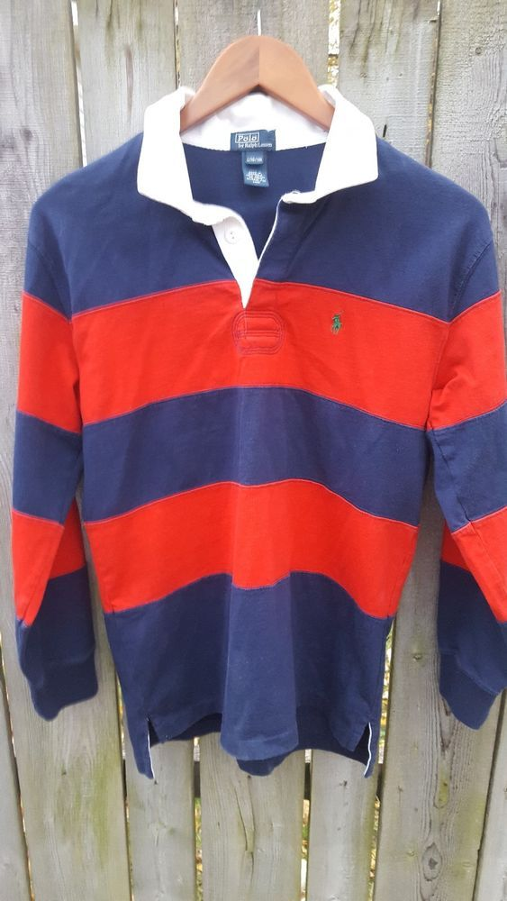 94f76c1d3 Ralph Lauren Polo Rugby Shirt Striped Red White Blue Long Sleeve • Kids  Large  ralphlauren  ebay  vintage  polo  rugby