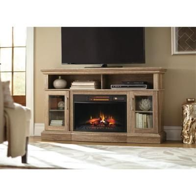 Home Decorators Collection Hawkings Point 59.5 in. Rustic Media Console Electric Fireplace in Pine-89499 - The Home Depot