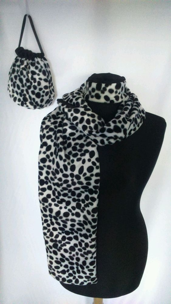 cruella de ville shawl 101 dalmatian scarf bag choker set fancy dress black