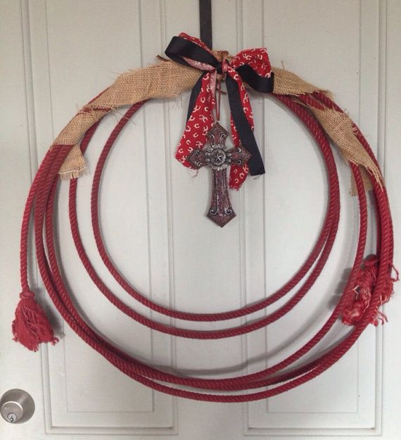 Roping Rope Wreath Cross Burlap Western Home by DixieCowgirls, $18.00