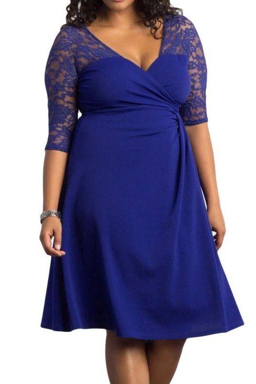 Robes Grandes Tailles Bleu Lavish Dentelle Mi-Manche Pas Cher www.modebuy.com @Modebuy #Modebuy #Bleu #mode #me #Grande