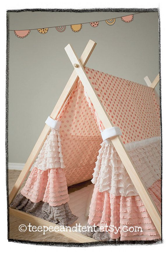 Kids Ruffle Teepee Play Tent by TeepeeandTent on Etsy, $199.99