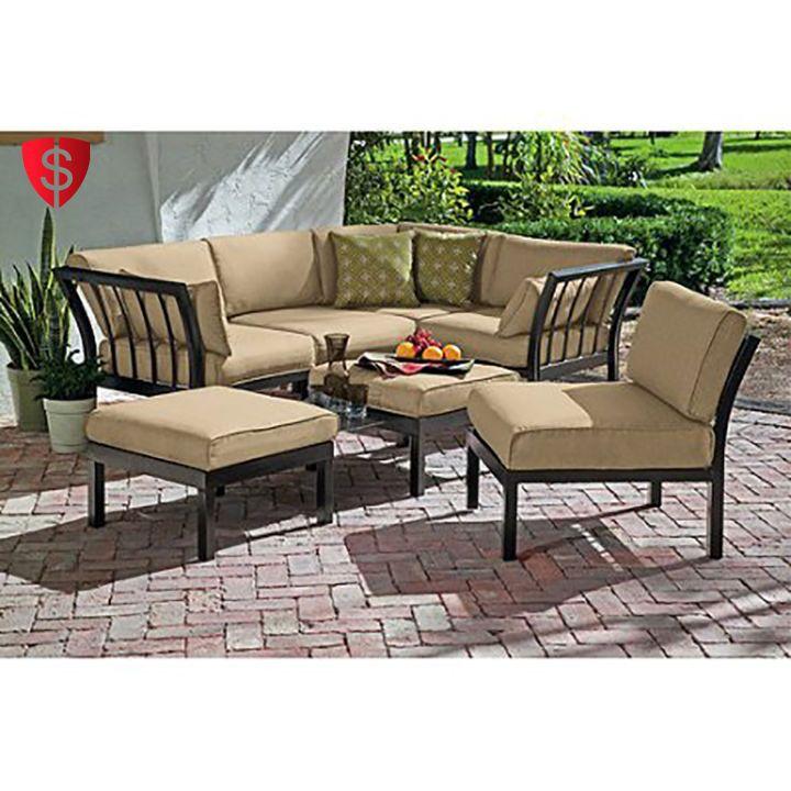 Outdoor Sofa Set 7 Piece Sectional Furniture Patio Garden Lounge Beige Seats 5 - http://home-garden.goshoppins.com/yard-garden-outdoor-living/outdoor-sofa-set-7-piece-sectional-furniture-patio-garden-lounge-beige-seats-5/