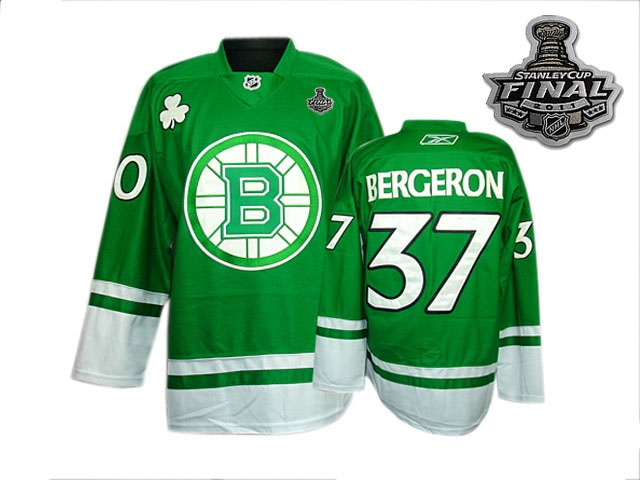Reebok Boston Bruins #37 Patrice Bergeron Green St Patty's Day Premier Man With 2011 Stanley Cup Finals NHL Jersey