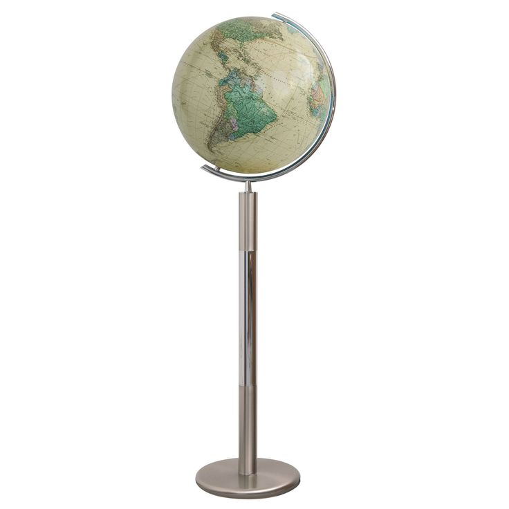 The Columbus Hannover Royal Illuminated Floor World Globe 16 Inch juxtaposes an antique styled map with a contemporary stainless steel base. The world globe was hand blown by skilled artisans. #illuminatedglobes #globe #globes #worldglobe #worldglobes #floorglobes #education #geography #teaching #vintage #gift #cartography #design #furniture #interiordesign #craft #handcrafted #handmade #artisan #birthday #classic #decor #homedecor #antique