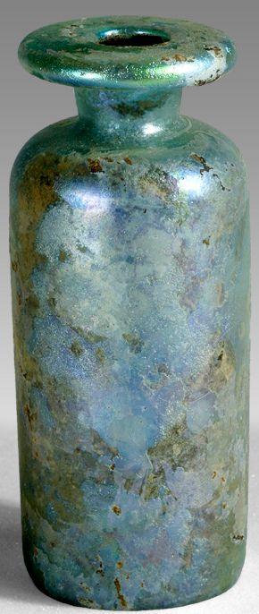 Iridescent blue bottle, Syria, 100-300 AD