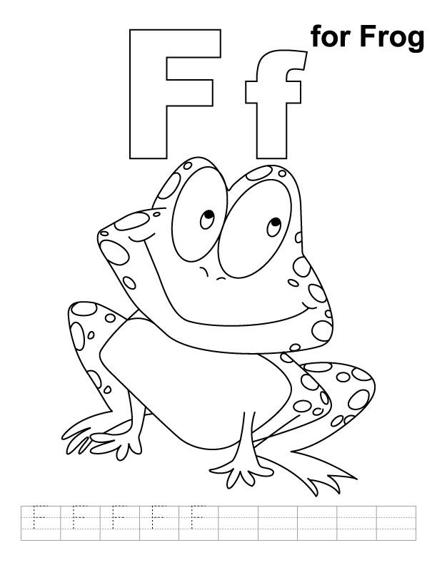 F for frog coloring page with handwriting practice Frogs