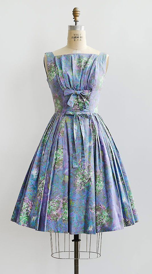 vintage 1950s purple blue printed bows dress