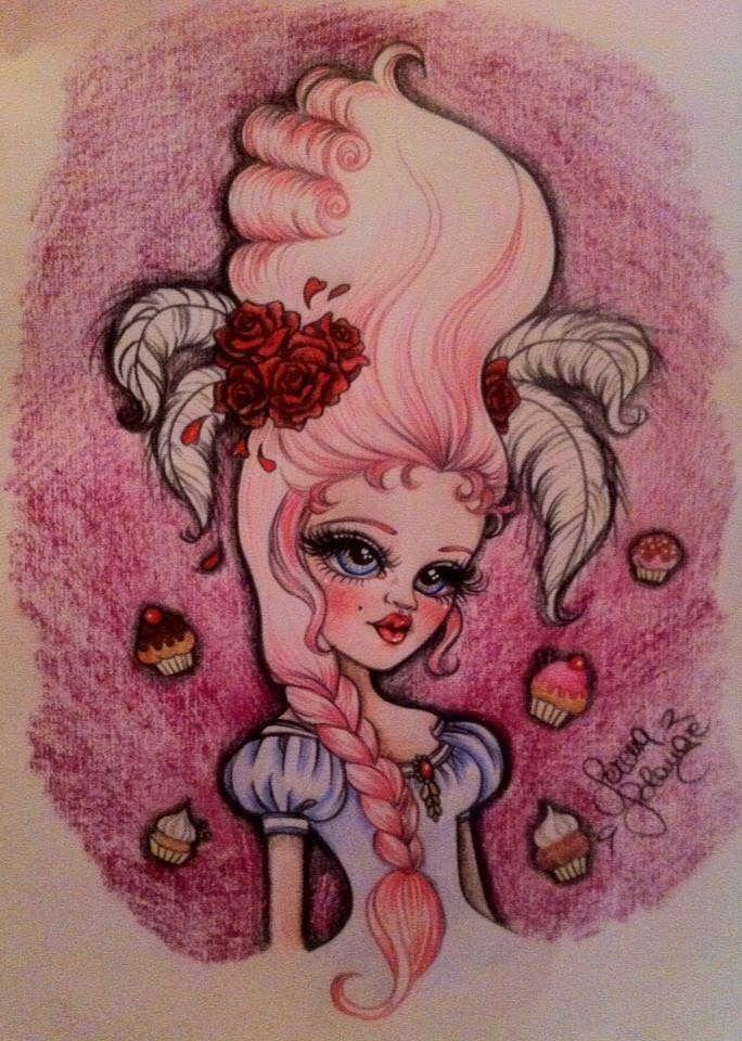 Maria Antonietta matite colorate su carta #marieantoinette #mariaantonietta #doll #serenasolangecarluccio