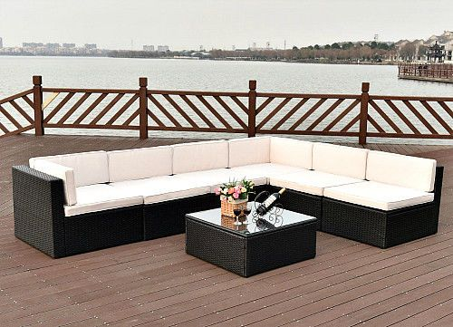 Wicker Outdoor Furniture 7Pc Rattan Cushioned Sectional Sofa Set Lawn Pool Patio #SmartDealsMarket