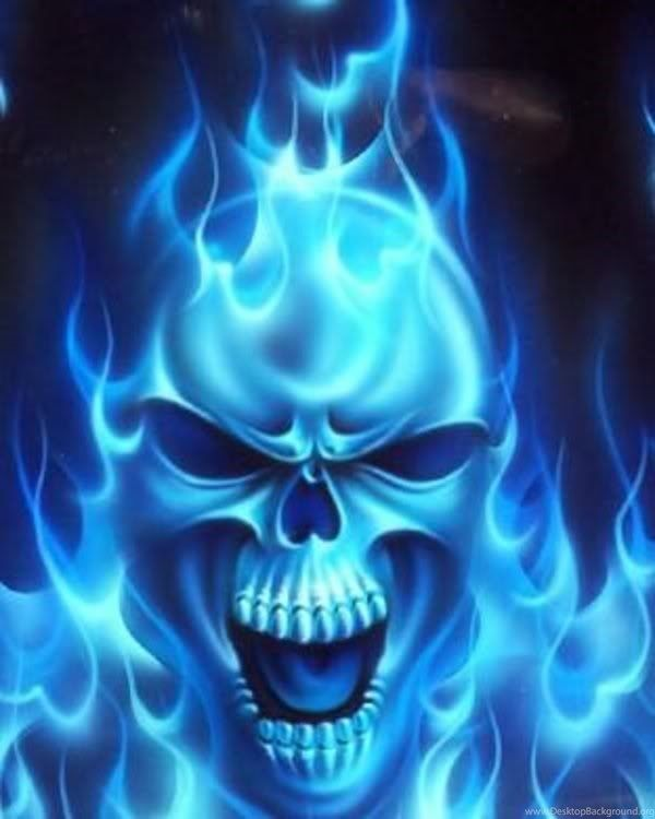 Gallery For Blue Flaming Skull Wallpapers