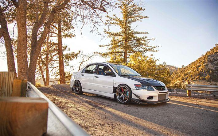 Download wallpapers Mitsubishi Lancer EVO IX, 4k, tuning, stance, supercars, japanese cars, Mitsubishi Lancer EVO 9, Mitsubishi