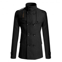 Korean Style Turndown Collar Solid Color Double-Breasted Long Sleeves Polyester Trench Coat For Men