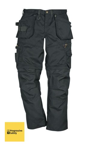 PROSTRETCH ZIP-OFF TROUSER BLACK REG - Tradesman,s trousers with two roomy front and back pockets,, two loose outside nail pockets reinforced with Cordura, one with an extra internal pocket and one with three smaller pockets and tool loops, two D rings, leg pocket with telephone pocket, tool pocket, two hammer holders. - www.psf.co.uk
