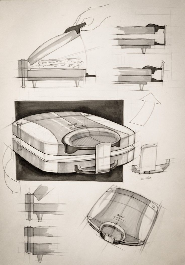 Iuliia Kalichkina (School of Form), toaster exlanatory sketches.