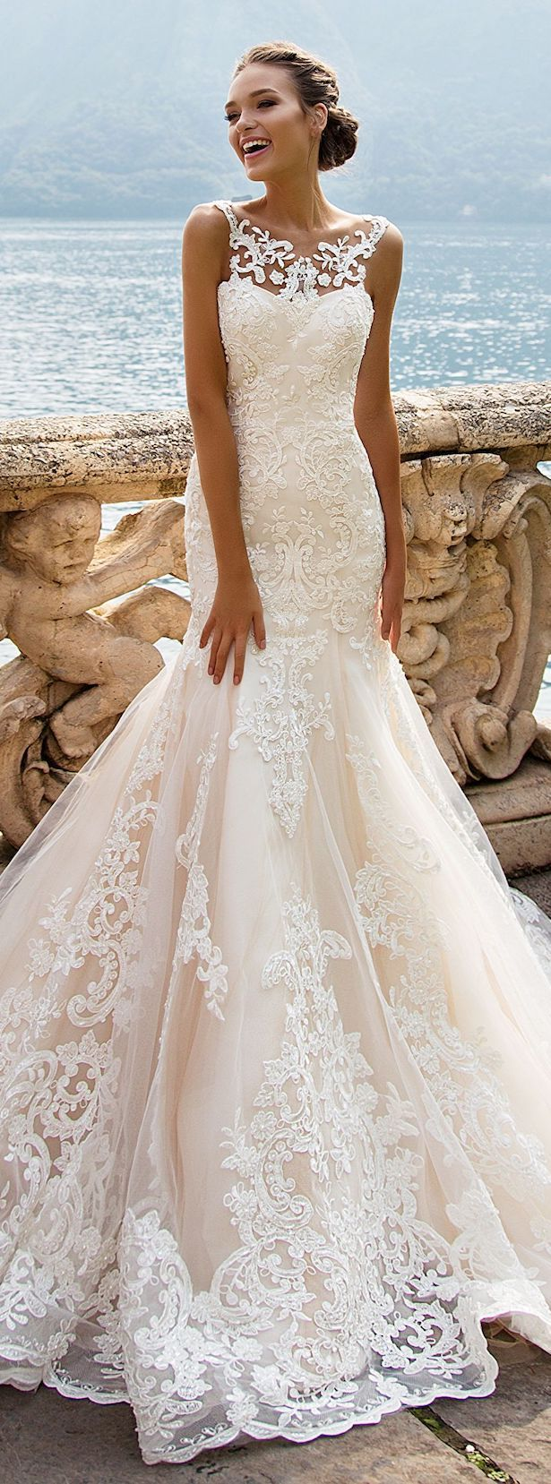 Best  Country Full Lace Wedding Dresses Deep V Neck Backless Sleeveless Mermaid Chapel Train Vintage