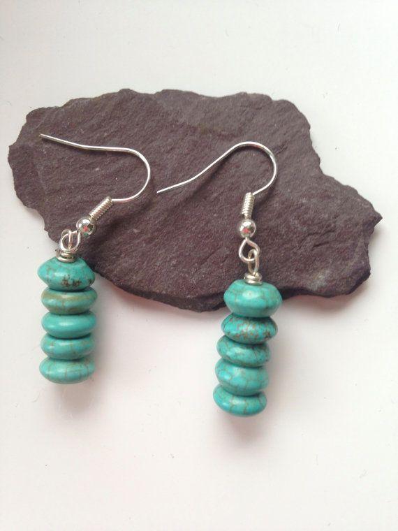 Samamba Turquoise Earrings with Silver by SamambaEtsy on Etsy