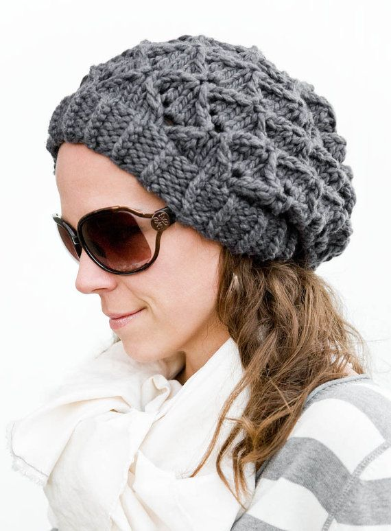 Womens Knit Hat Pattern : Womens Slouchy Hat Pattern, Chunky Knit -Bow Tie Bubbles ...