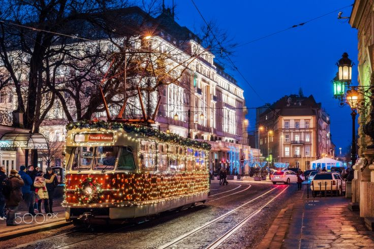 Christmas tram - This photogenic Christmas tram is carrying passengers for free during Christmas time in Bratislava, Slovakia.