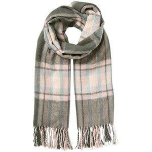 (Wk6) Miss Selfridge Grey And Pink Checked Scarf - $16 - missselfridge.com