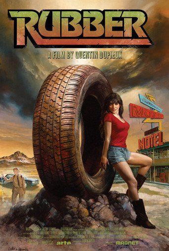 Rubber (2010) | http://www.getgrandmovies.top/movies/40226-rubber | In the California desert, the adventures of a telepathic killer-tire, mysteriously attracted by a very pretty girl, as witnessed by incredulous onlookers.