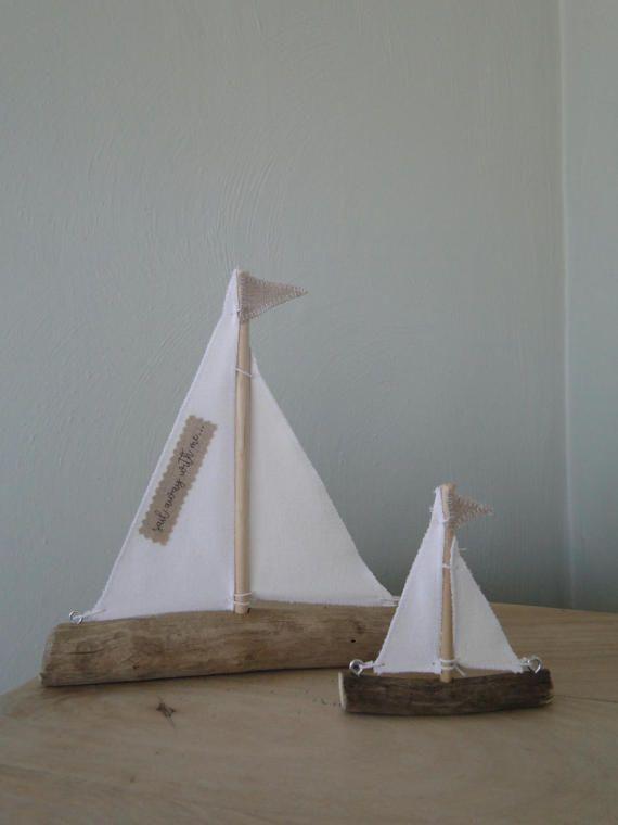 Pair of driftwood sailboats driftwood boats nautical decor