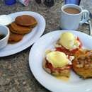 Crab cake Benedict, pumpkin pancakes with sour cream and pecan praline - yup ihop tastes like crap in comparison...in VA beach
