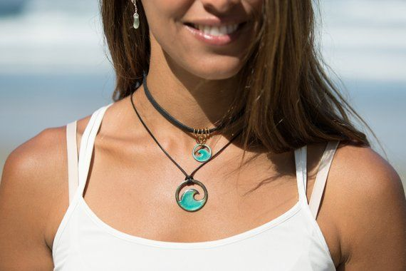 personalization optional Seagreen enamel mini wave choker with flat black cord